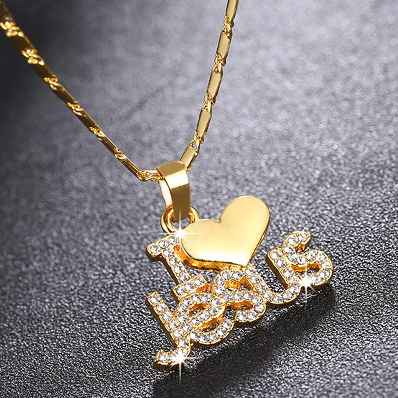 Fashion Religious I Love Jesus pendant necklace for women gold/rose gold Christian jewelry accessories gift