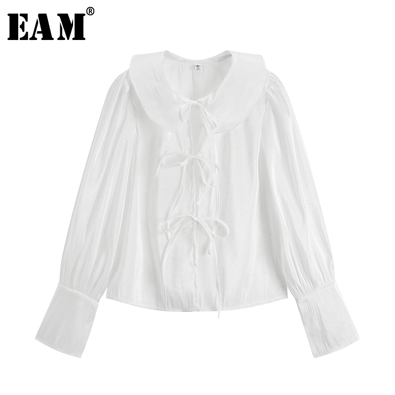 [EAM] 2019 Autumn Winter Woman New stylish White Color Long Sleeve Lace-up Bow Peter Pan Collar Loose Shirt All Match LI465