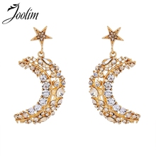 Joolim Gold Color Bling Moon Star Earring Crescent With Glass