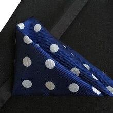 25x25 см Стильный карманный квадратный синий с большими белыми точками платок