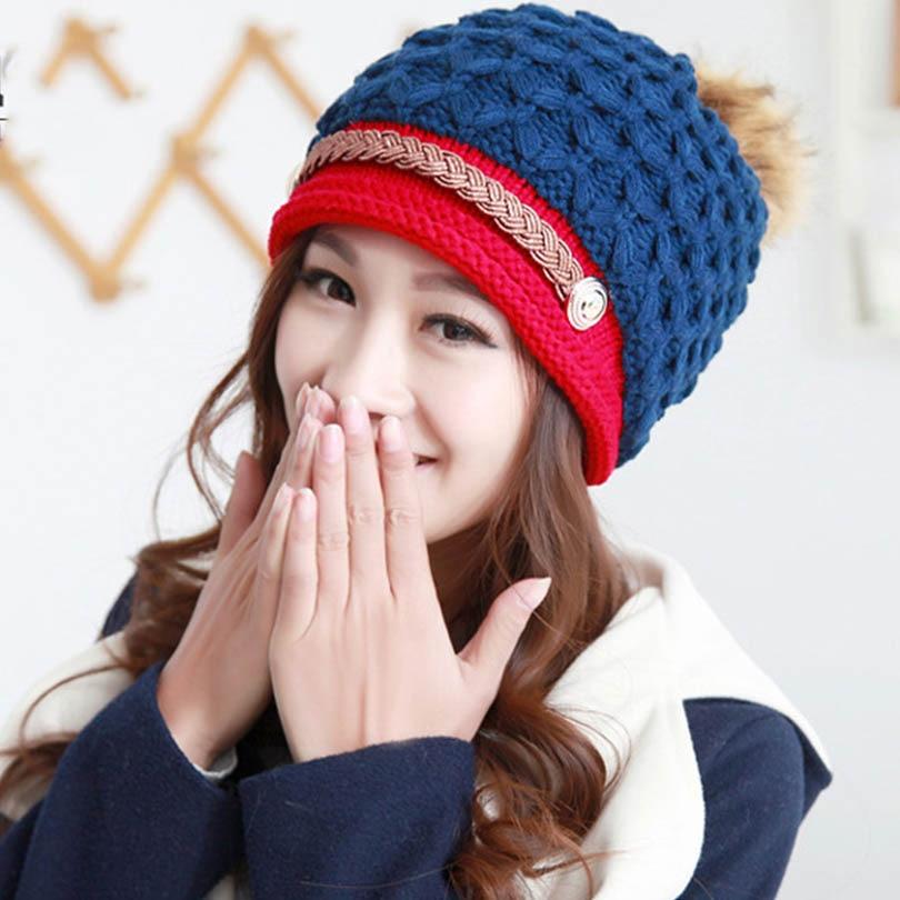 Mujeres sombreros para las mujeres algodón básico hecho punto invierno  gorros Beanie conjunta femenino hembra sombrero toucas inverno multi-color  señoras ... 440cc8357f4c