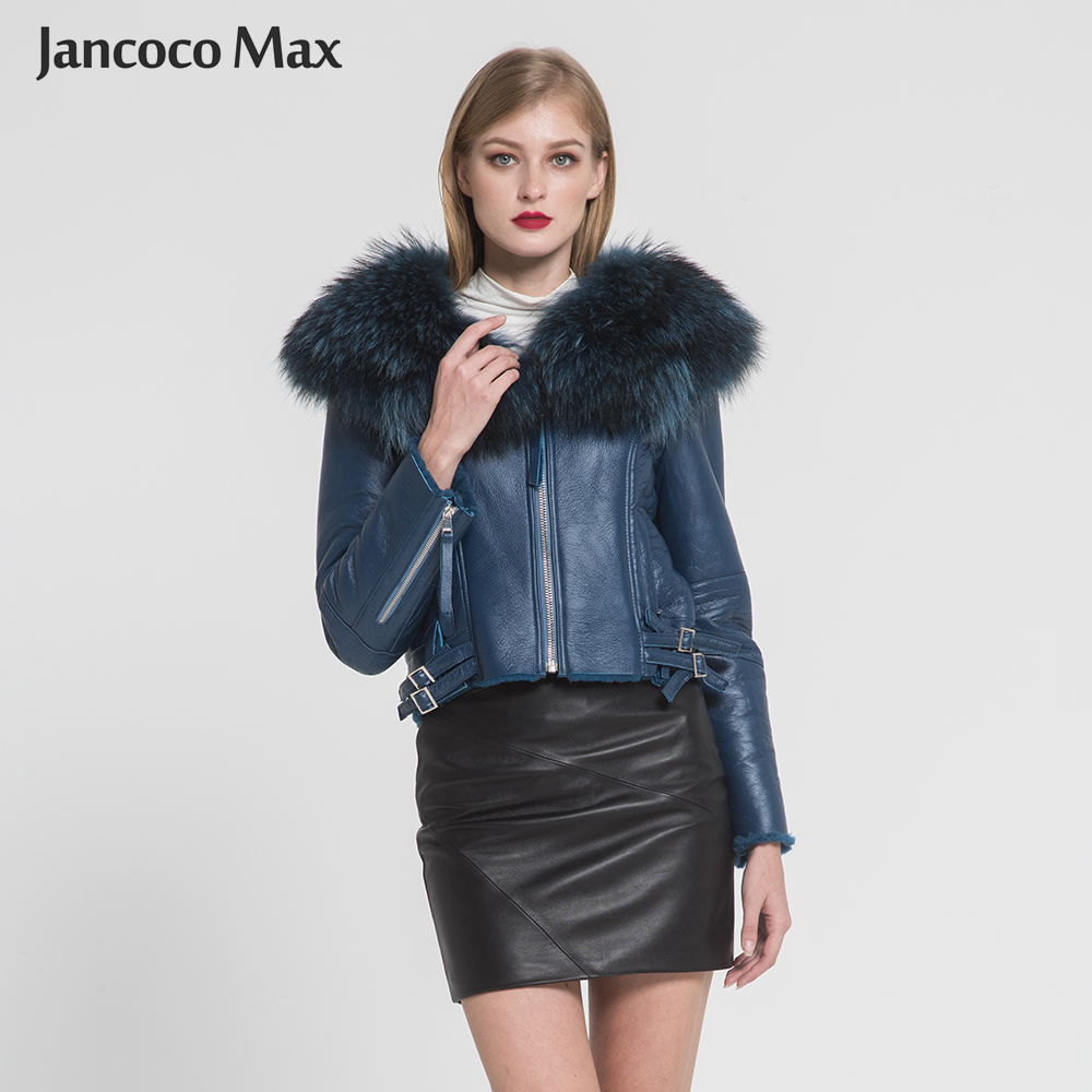Real Leather Coat Women's Real Fur Lined Coat Raccoon Fur Collar Double Face Biker Jacket 2019 New Arrival S7009