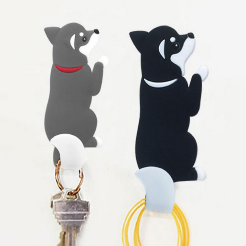Cute Dog Tail Hooks Kitchen Wall Door Metal Hooks Key Hanger Racks Super Strong Magnetic Fridge Bathroom Door Decor