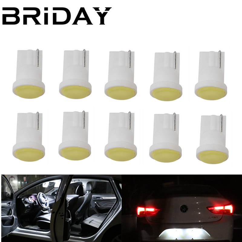10pcs Ceramic Car LED Interior T10 COB W5W Wedge Door Instrument Side Bulb Lamp Car White Source car-styling light source 12v