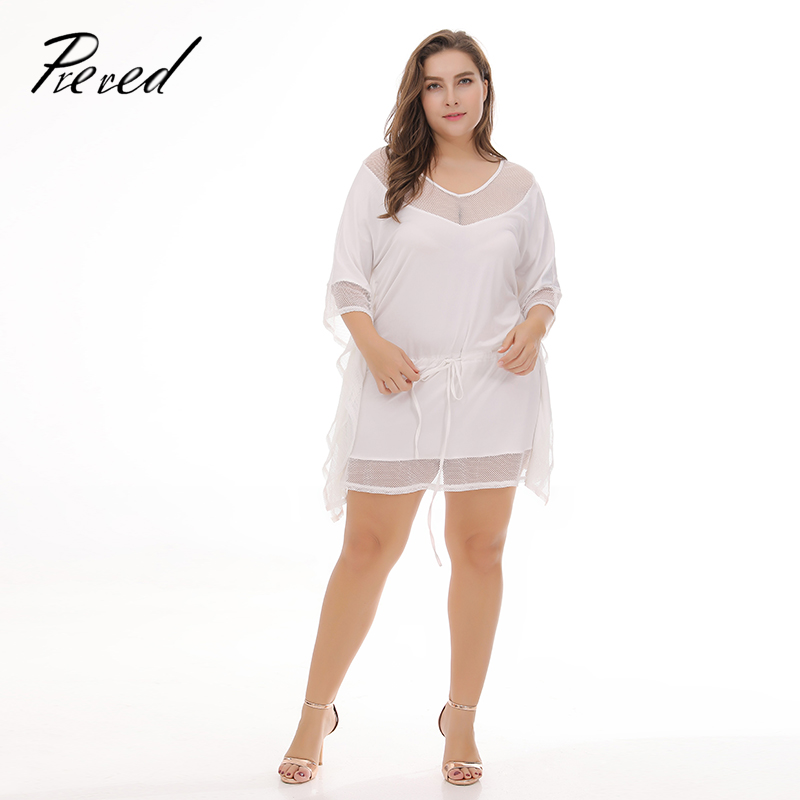 Prered 2018 Summer Sexy Playsuits Short sleeved V-neck Mesh Casual Solid Plus Size Free Shipping