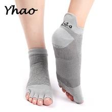 Yhao Professional Toeless Yoga Socks For Women Wear Resisting Anti Slip Five Fingers Floor Pilates Fitness