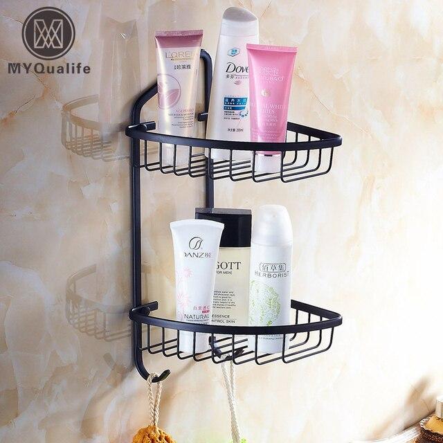 Oil Rubbed Bronze Black Bathroom Shower Shampoo Gel Holder Basket Wall Mounted Br Cosmetic Rack