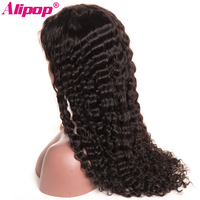 150 Density Full Brazilian Deep Wave Wig Pre Plucked Remy Lace Front Human Hair Wigs ALIPOP