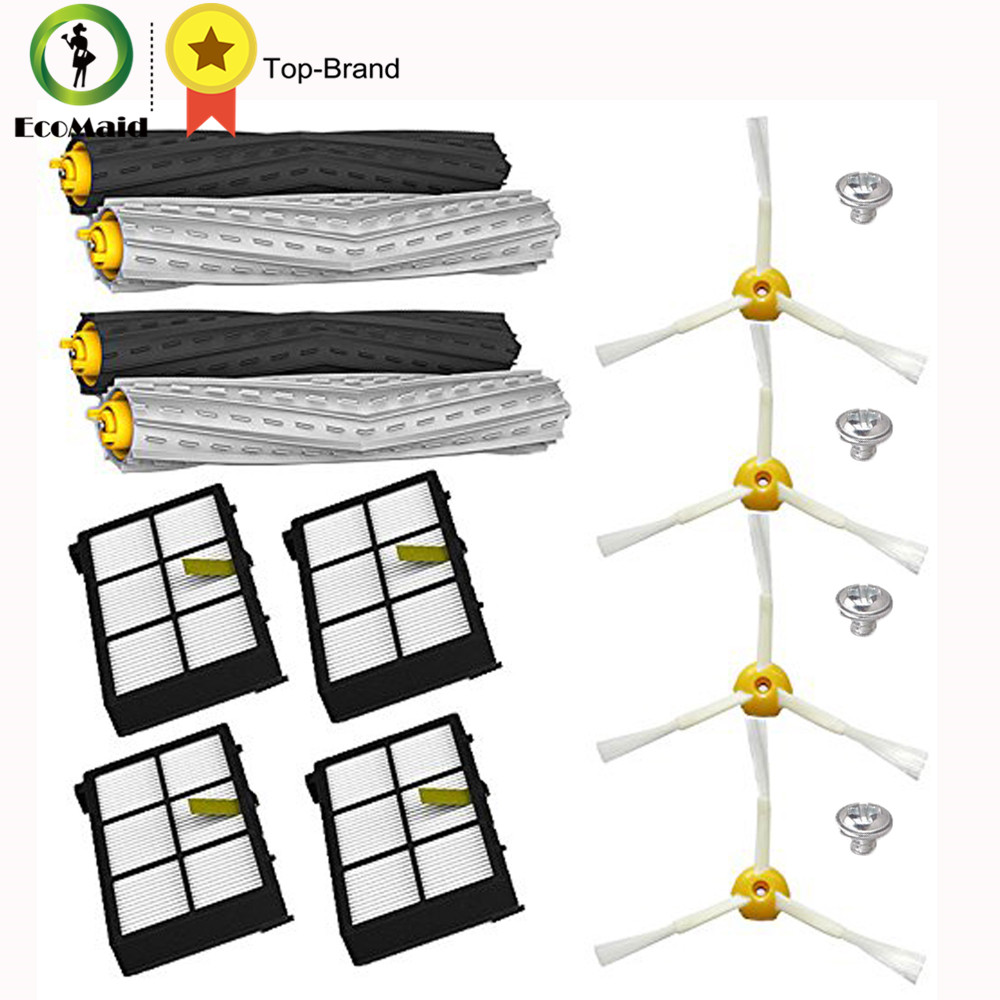 Tangle-Free Debris Extractor Hepa Filters Side Brush kit For iRobot Roomba Replacement 800 & 900 Series 870 880 980 Vacuum Clean 11pcs lot tangle free debris extractor replacement kit irobot roomba 800 900 series 870 880 980 vacuum robots accessory parts