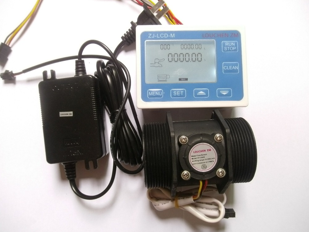 G 2 2 inch Flow Water Sensor Meter+LCD Display Controller 5-300L/min+24V Power+temperature sensor