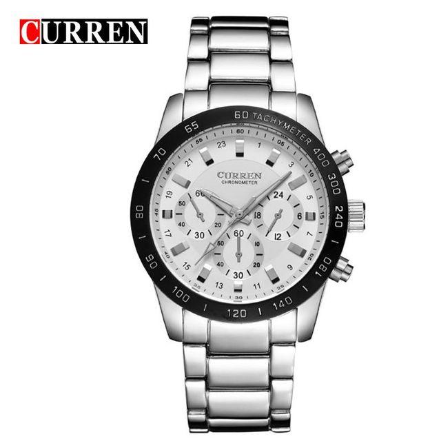 8017 currenชายยอดนาฬิกาแบรนด์หรูผู้ชายทหารนาฬิกาข้อมือผู้ชายเต็มเหล็กกีฬานาฬิกากันน้ำrelógio masculino