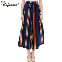 P176 Women S Sexy Loose Fit Bow Tie Striped Print Wide Leg Pants High Side Slit