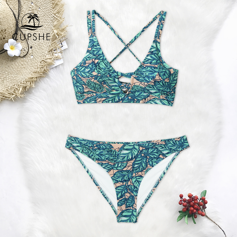 CUPSHE Leaves Print Lace-Up Bikini Sets Women Sexy Lace Up Two Pieces Swimsuits 2019 Girl Beach Bathing Suits Swimwear