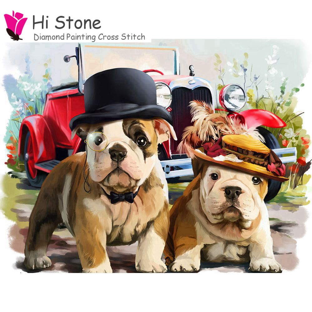 Full Square Diamond Embroidery Bead Patterns Diy Bulldog Diamond Painting Puzzle Dog Needlework 5d Diamond Picture Home Decor