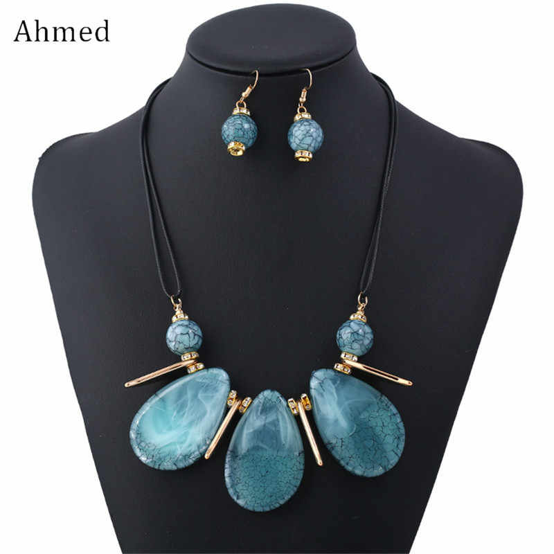 Ahmed Fashion Cracked Plate Water Droplets Geometric Necklaces & Pendants Statement Necklace Earrings for Women Jewelry Set