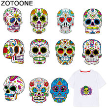 ZOTOONE Cool Punk Skull Stickers Iron on Patches Transfers for Clothes T-shirt Heat Transfer Sticker DIY Accessory Appliques F1
