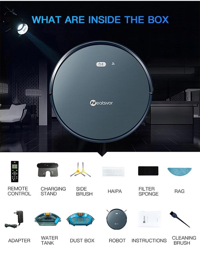 NEATSVOR X500 1800PA Robot Vacuum Cleaner,3in1 Wet Dry Mop,WIFI Map Navigation,Smart Memory,Anti Collision,Robot Aspirador