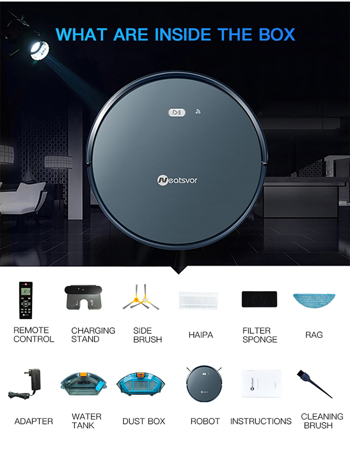 NEATSVOR X500 1800PA Robot Vacuum Cleaner for Wet or Dry Mopping with Map Navigation and Anti Collision Feature 34
