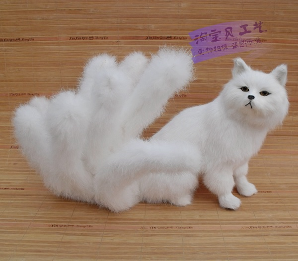 new simulation The nine-tailed fox toy white beautiful resin&fur fox doll gift about 28x26cm 0920 the brooklyn nine