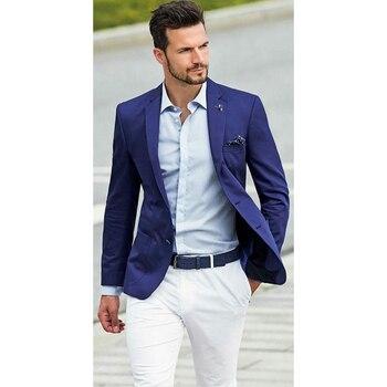 Royal Blue buttons Mens Suits 2018 Groom Tuxedo 2 pcs Groomsmen Wedding Party Dinner suit men smoking masculino (Jacket+Pants)
