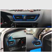 lsrtw2017 stainless steel car dashboard air conditioner vent trims for kia rio 2011 2012 2013 2014 2015 2016