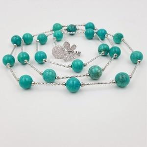 Image 3 - Уникальное винтажное ожерелье LiiJi с цепочкой на свитер, женские бирюзы 10 мм, каменные бусины, серебряное покрытие, искусственное ожерелье в стиле бохо