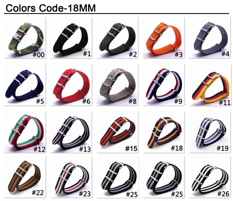 1PCS NATO Watchband Nylon Strap Black Ring Buckle 18mm 20mm 22mm 24mm Striped Replacement Band Watch Accessories
