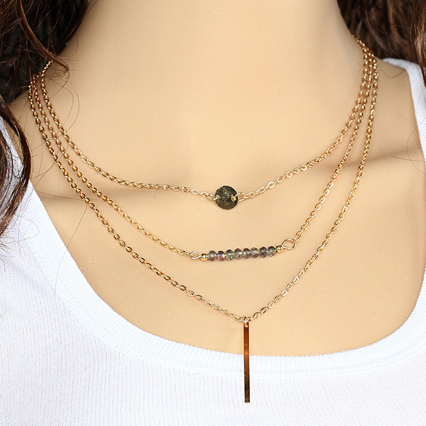 Crystal beads sequins bang multilayer suit necklace Three Layers Gold Chain Necklace Multilayers Gold Color Chain Necklaces