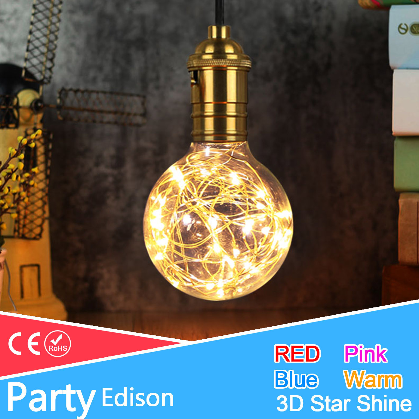 3D Star/Colour Fairy G95 Led Edison Light E27 220v LED Bulb Lamp String Filament Retro Glass Lampara Ampoule Christmas Wedding greeneye 1 4pcs color led bulb edison 220v e27 filament led lamp light st64 retro green blue red pink warm white ampoule lampara