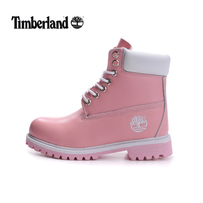 TIMBERLAND Women Classic 10061 Light Pink Spring/Autumn Martin Boots,Woman Popular High Top Solid Color Leather Ankle Shoes
