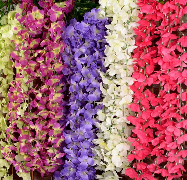 80cm 인공 수국 등나무 꽃 포도 나무 실크 꽃 가지 갈 랜드 포도 나무 웨딩 아치 꽃 등나무 벽 교수형