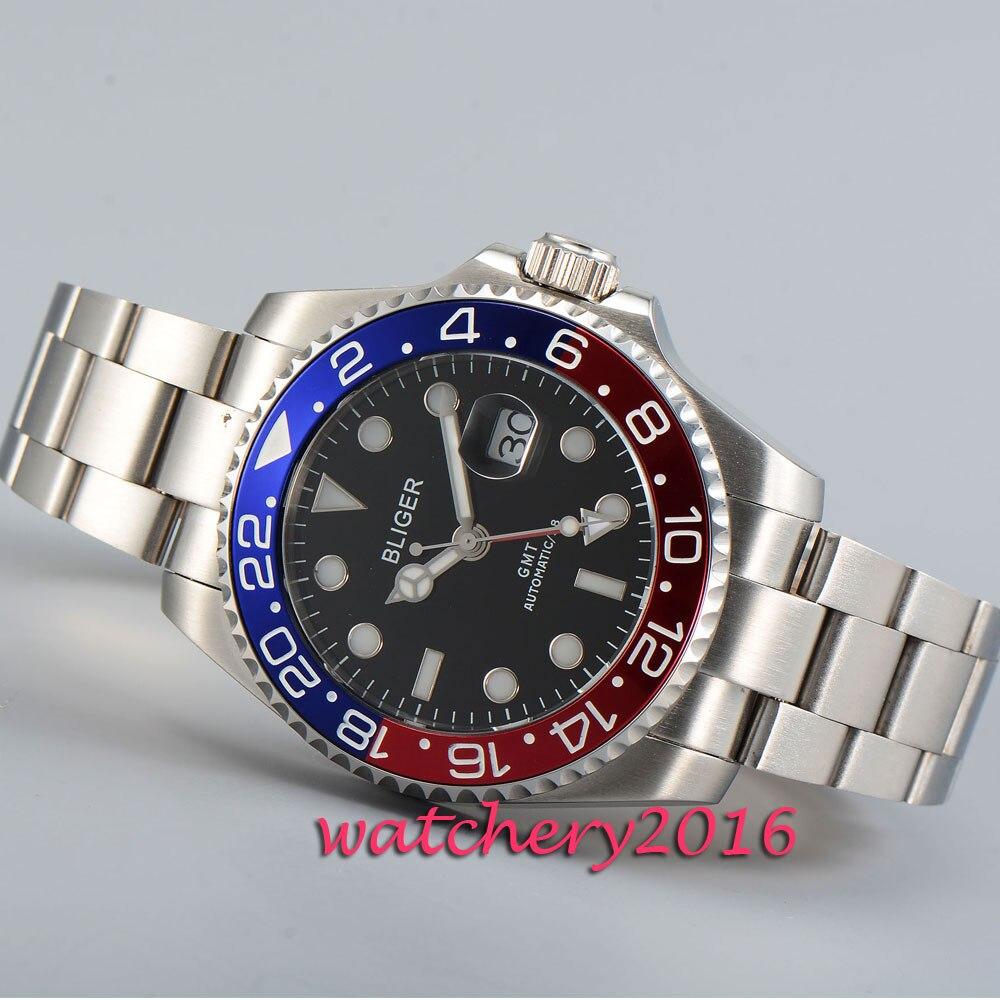 Reloj de hombre con movimiento automático de vidrio de zafiro con marcas de esfera negra pulida de 43mm-in Relojes mecánicos from Relojes de pulsera    2