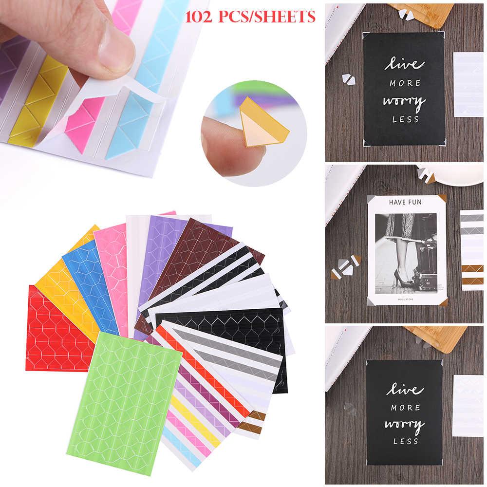 102pcs/sheet DIY Colorful Photo Corner Scrapbook Paper Photo Albums Frame Picture Decoration Vintage PVC Stickers Fashion DIY
