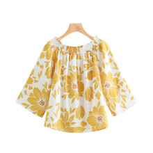 цена на off shoulder floral print blouse yellow slash neck three quarter sleeve shirts female stylish sexy tops