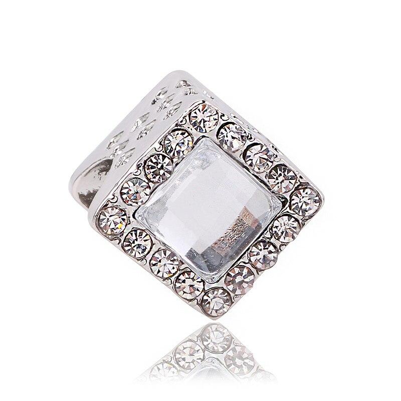 dodocharms Fits Origianl Pandora Charm Bracelets Silver Color Square Charm Beads With Big Clear Zircon 2018 Winter DIY
