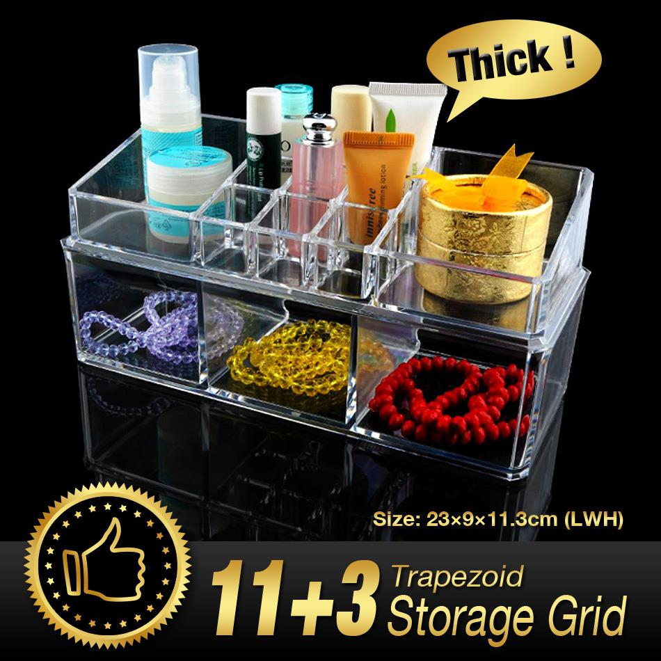 14 Grids Make up Storage Organizer jewelry Box Skin Care Holder Case Trapezoid Transparent Clear Acrylic Double Rack EQC360 POK