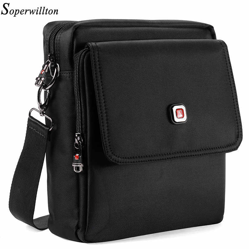 Soperwillton Men Bag With Cover Clamshell Brand 2019 New Design Shoulder & Crossbody Black Oxford Waterproof Male Bag #1056