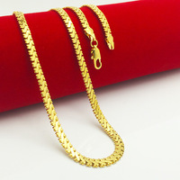 High Quality Men Women 24K Real Yellow Gold Filled Tanks Chain Necklace 500mm 6mm Fashion Charm