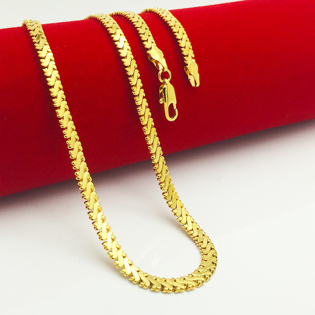 High Quality Men Women  Real Yellow Gold Filled Tanks Chain Necklace 500mm*6mm Fashion Charm Jewelry