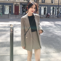 Women Fashion Plaid Skirt Suits Double Breasted Jacket Blazer & High Waist Mini Skirt Casual Female 2 Pieces Set