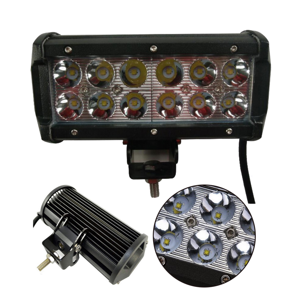 Led offroad light bar 2 pcs SPOT beam 12v DC 6000K work light 36W 7 inch car 3400lms waterproof