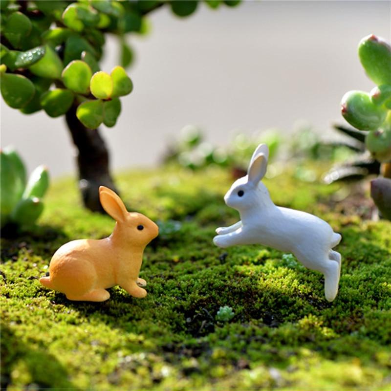 New 2pc/set Rabbit Ornament Miniature Figurine Fairy Garden Decor Home Decoration Micro Landscape Terrarium Gift