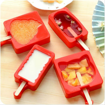 cartoon style diy silicone ice cream mold popsicle maker with popsicle sticks kitchen tools