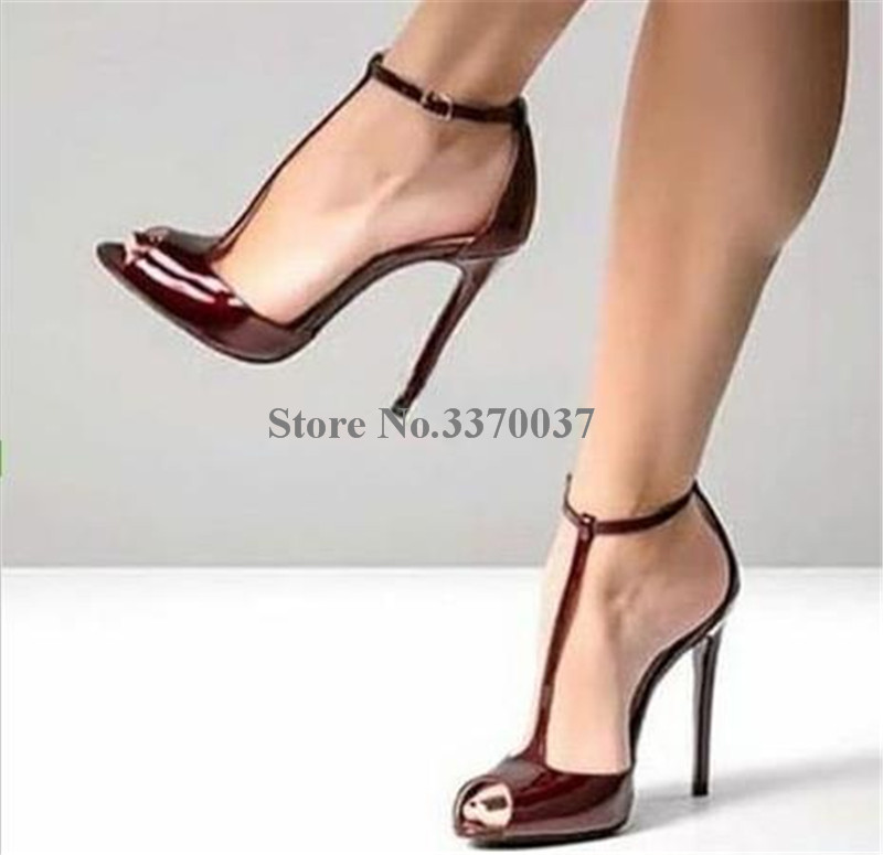 Newest Fashion Women Brand Design Peep Toe Leopard Patent Leather Stiletto Heel Pumps T-strap High Heels Formal Dress Shoes
