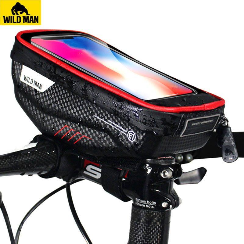 WILD MAN Road Bicycle Bag Rainproof 5 8 6 0 Inch Phone Case Touch Screen MTB