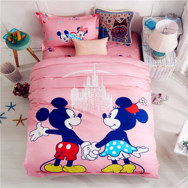 100% Cotton Pink Mickey and Minnie Bed Linens Single Twin Size 3d Quilt Duvet Cover Set Kids Girl Bedding Set Home Textile 3/4pc
