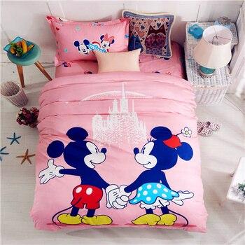 9681b873c76 100% algodón rosa Mickey y Minnie cama solo tamaño gemelo 3D edredón Fundas  nórdicas set