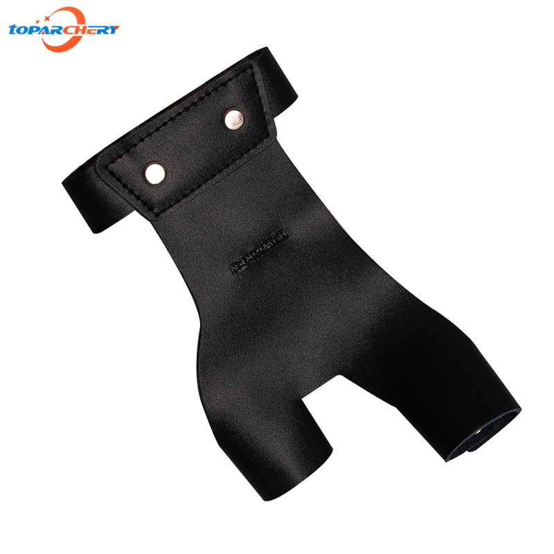Archery Left Hand Finger Guard Black 2 Fingers Leather font b Glove b font for Traditional