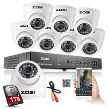 ZOSI 8CH 960H CCTV System DVR Kit 1000TVL CCTV Camera kits Security System Outdoor Camera Support Mobile Phone View 1TB HDD