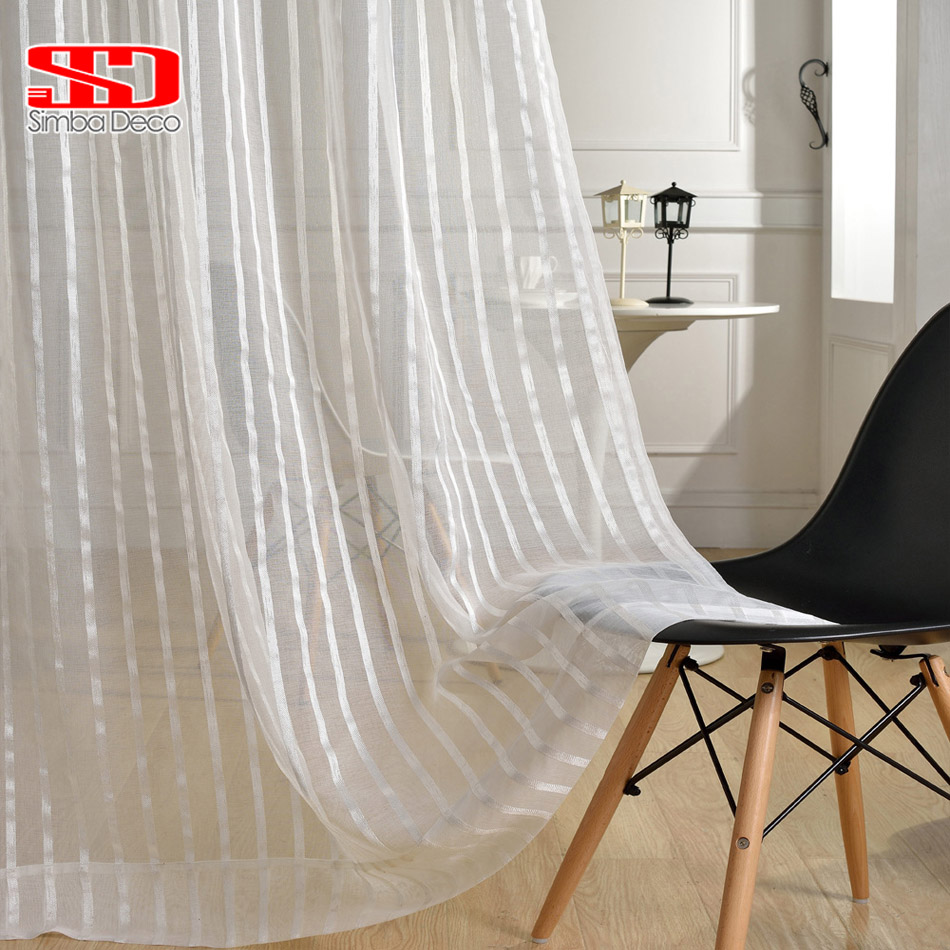 solid striped tulle curtains for living room white sheer shiny thread modern voile cheap organza. Black Bedroom Furniture Sets. Home Design Ideas